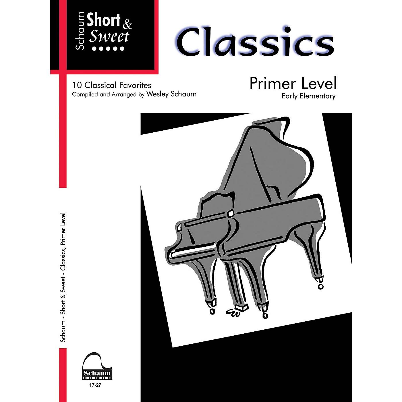 SCHAUM Short & Sweet: Classics (Primer Level Early Elem Level) Educational Piano Book thumbnail