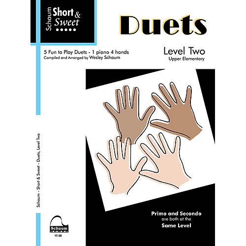 SCHAUM Short & Sweet: Duets (1 Piano, 4 Hands Level 2 Upper Elem Level) Educational Piano Book thumbnail
