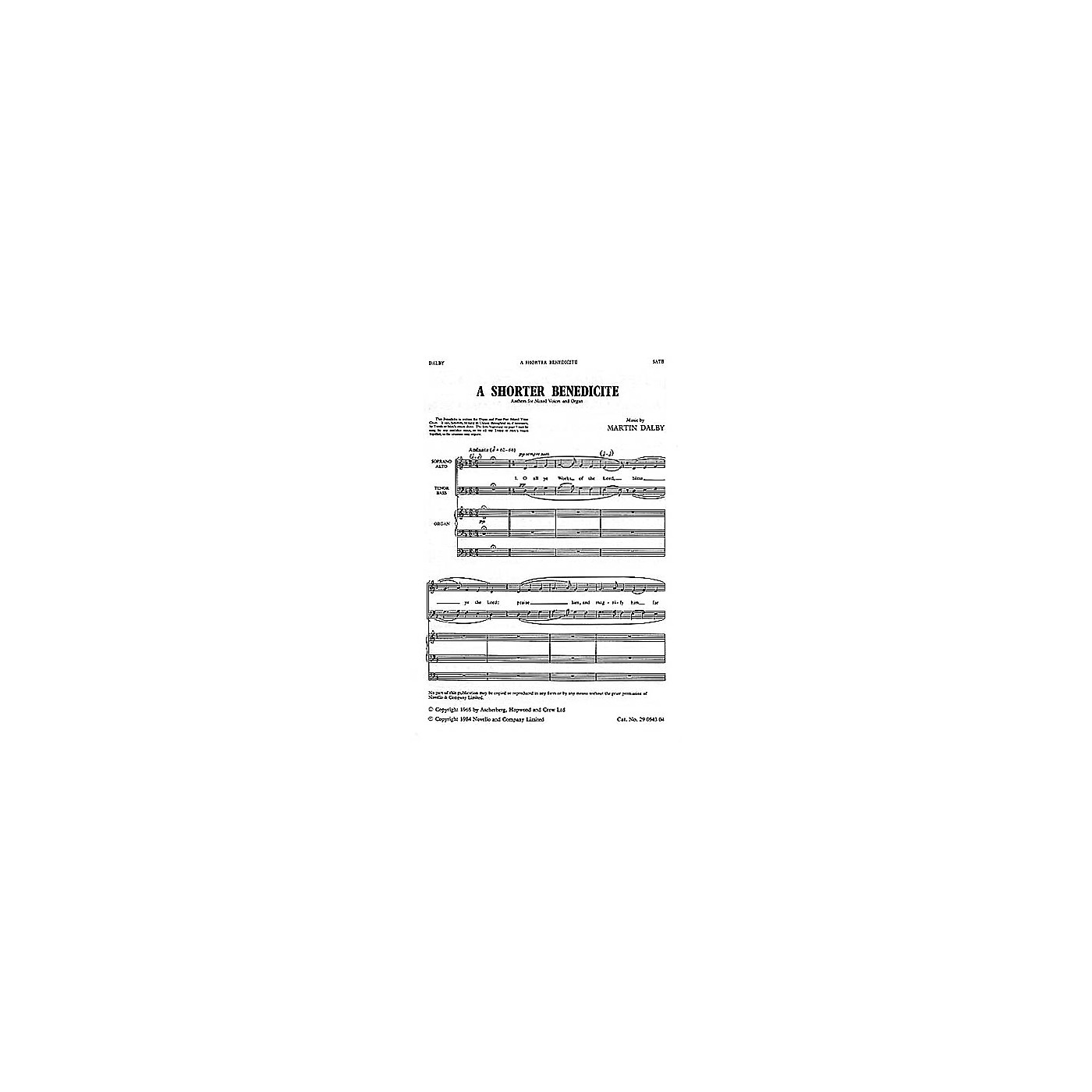 Novello Shorter Benedicte SATB Composed by Martin Dalby thumbnail