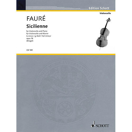Schott Sicilienne Op. 78 in G minor (for Cello and Piano) String Series thumbnail