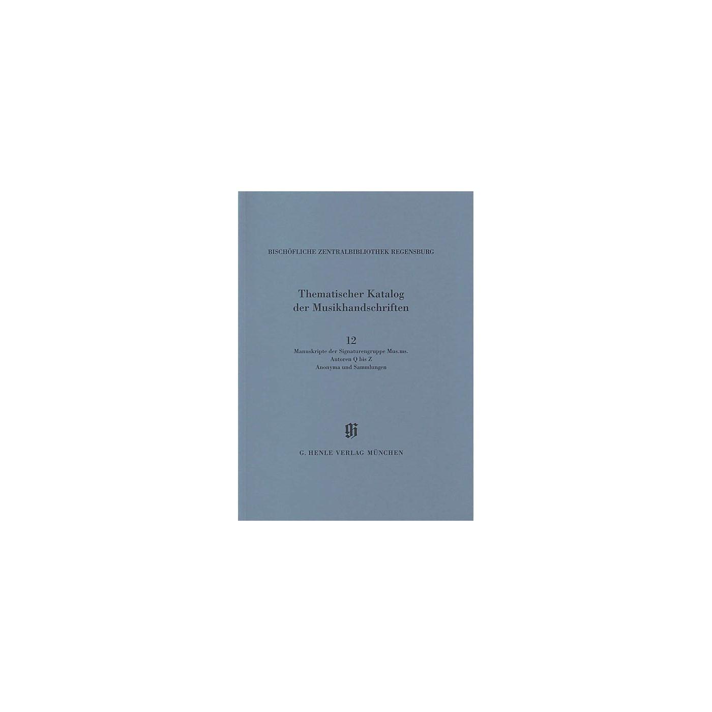 G. Henle Verlag Signaturengruppe Mus. ms. Autoren Q-Z, Anonyma und Sammlungen Henle Books Series Softcover thumbnail