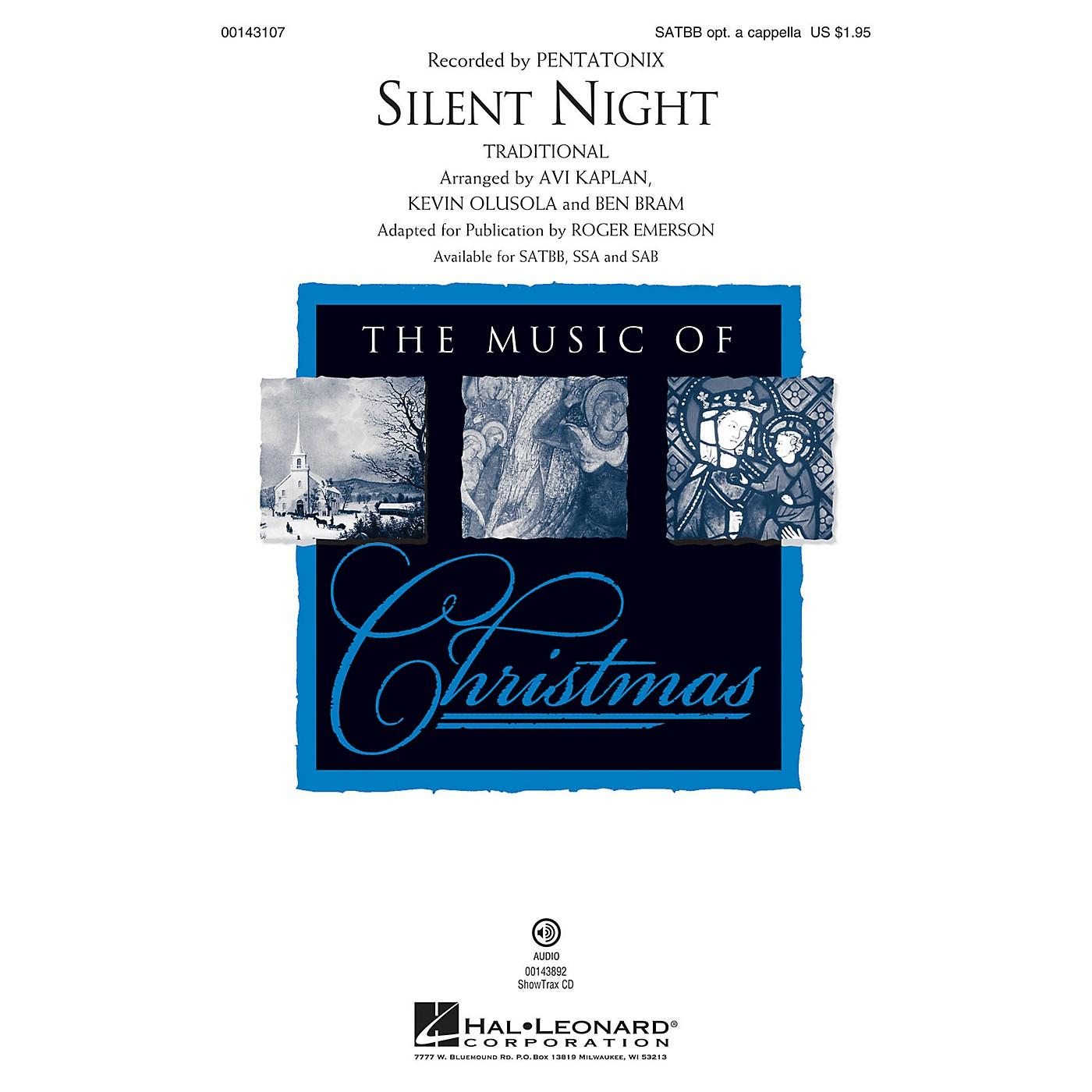 Hal Leonard Silent Night SATBB OPTIONAL A CAPPELLA by Pentatonix arranged by Roger Emerson thumbnail
