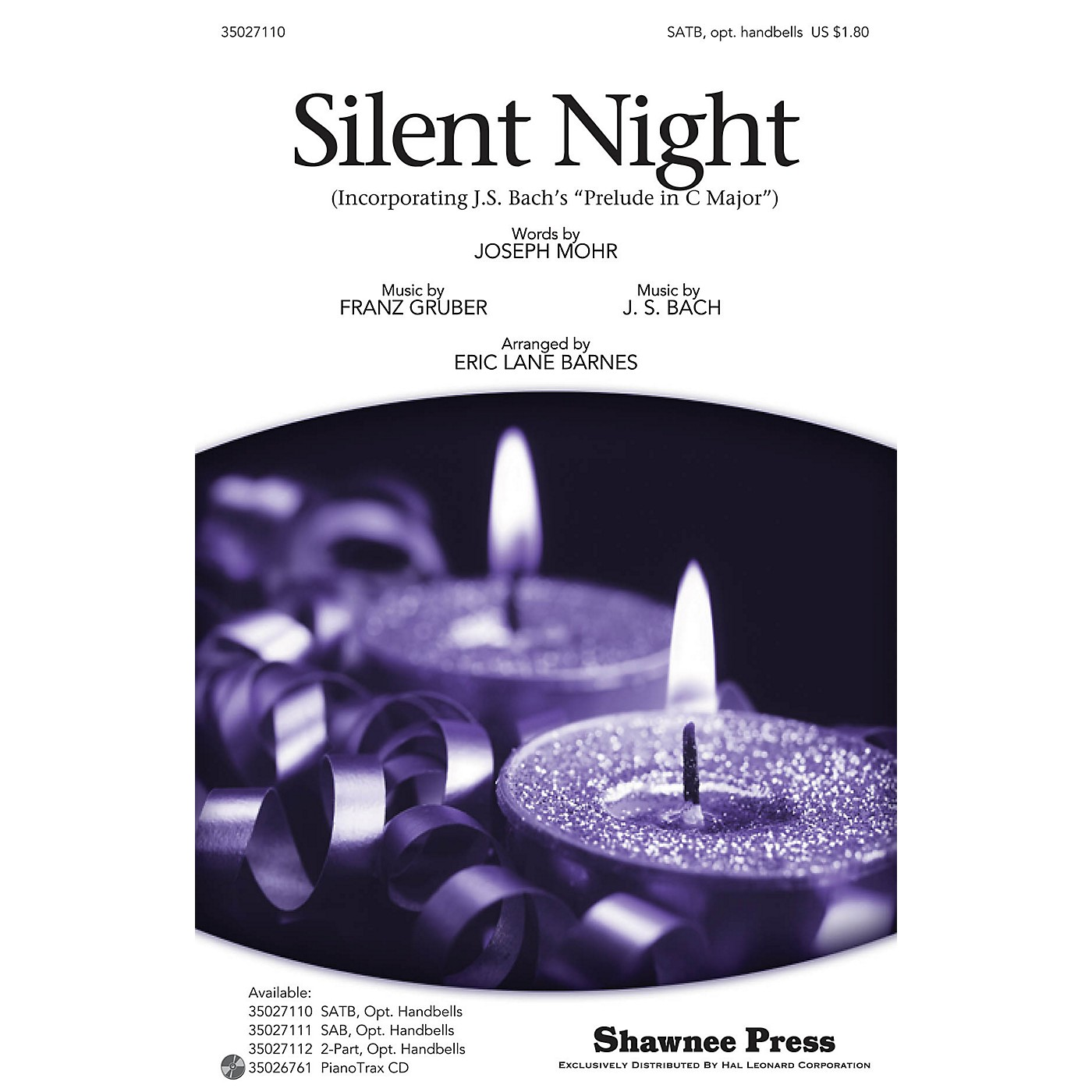 Shawnee Press Silent Night (with Bach's Prelude in C Major) SATB, HANDBELLS arranged by Eric Lane Barnes thumbnail