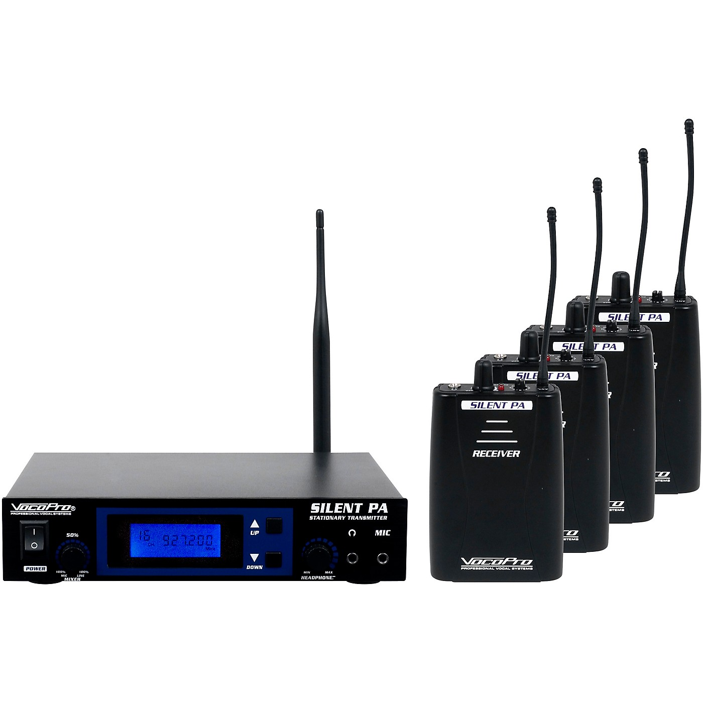 VocoPro SilentPA-PRACTICE 16CH UHF Wireless Audio Broadcast System (Stationary Transmitter with four bodypack receivers) thumbnail