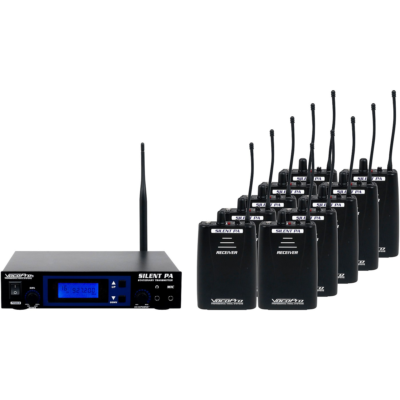 VocoPro SilentPA-SEMINAR10 16CH UHF Wireless Audio Broadcast System (Stationary Transmitter with ten bodypack receivers) thumbnail