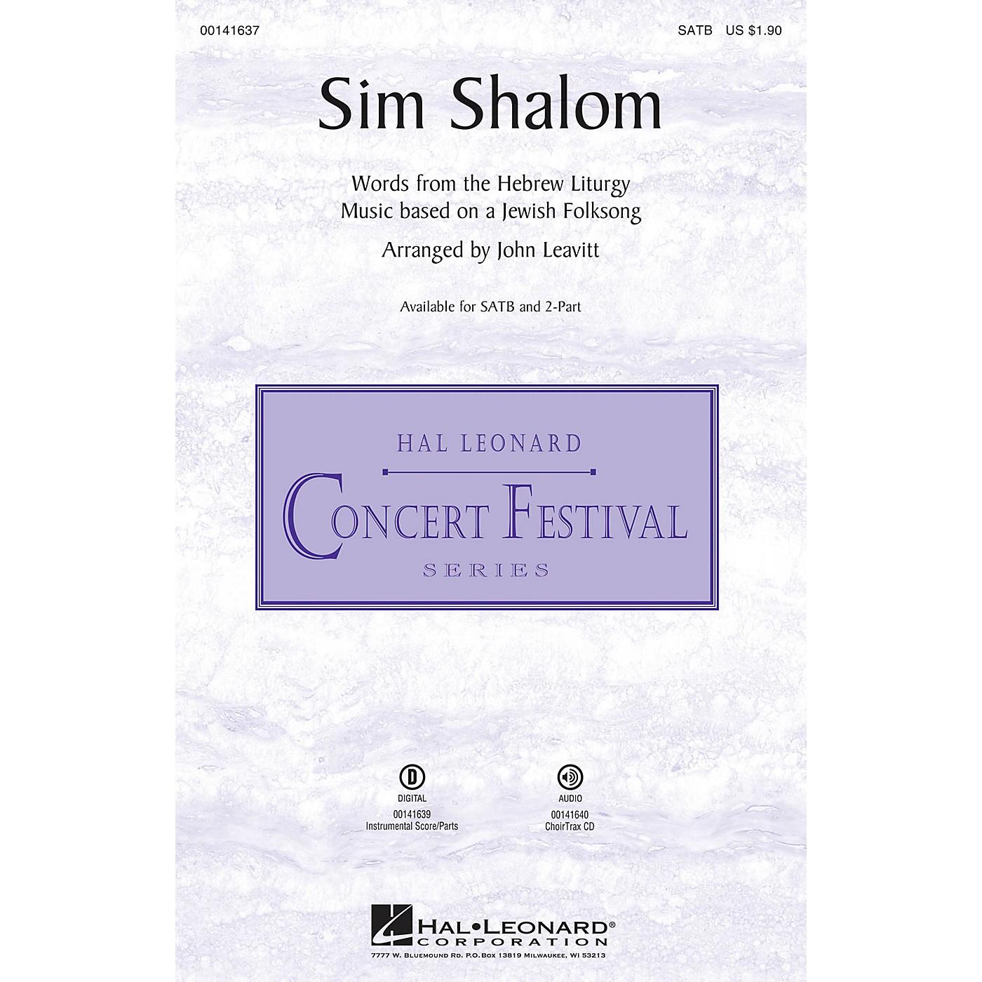 Hal Leonard Sim Shalom 2-Part Arranged by John Leavitt thumbnail