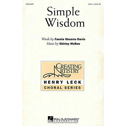 Hal Leonard Simple Wisdom 2-Part composed by Shirley McRae thumbnail