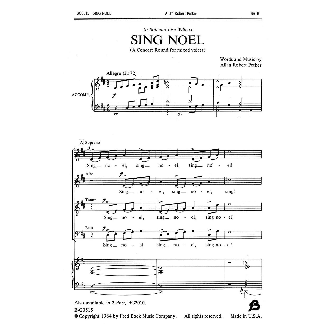 Fred Bock Music Sing Noel SATB composed by Allan Robert Petker thumbnail