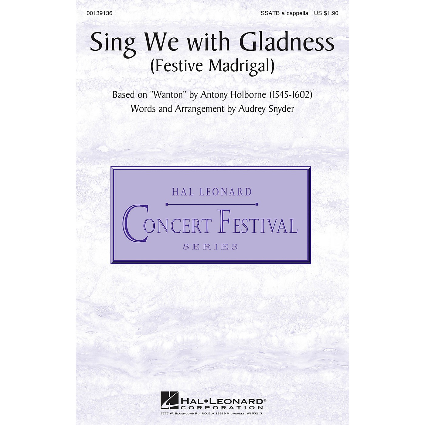 Hal Leonard Sing We with Gladness (Festive Madrigal) SSATB A Cappella arranged by Audrey Snyder thumbnail