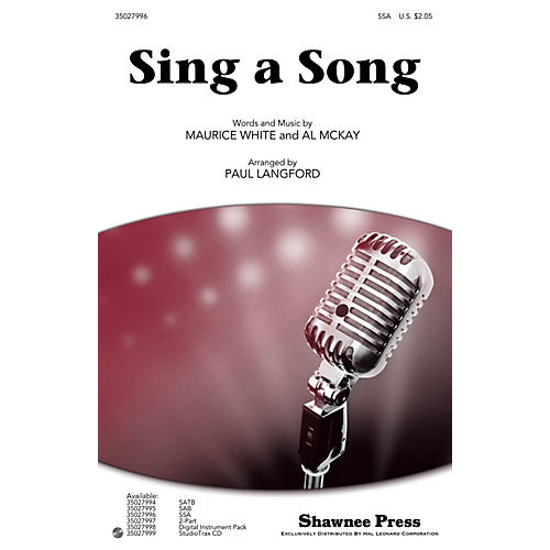 Shawnee Press Sing a Song SSA by Earth, Wind & Fire arranged by Paul Langford thumbnail