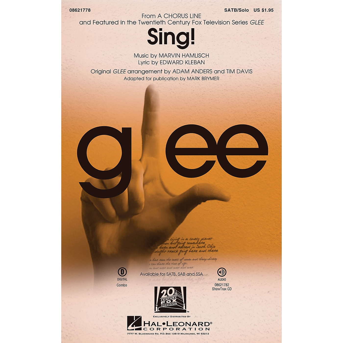 Hal Leonard Sing! (from A Chorus Line) ShowTrax CD by Glee Cast Arranged by Adam Anders thumbnail