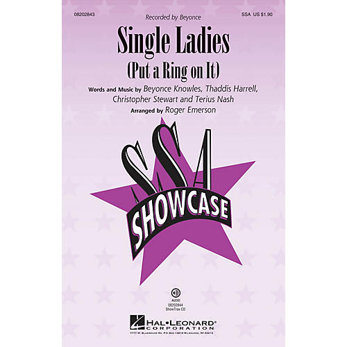 Hal Leonard Single Ladies (Put a Ring on It) ShowTrax CD by Beyonce Arranged by Roger Emerson thumbnail
