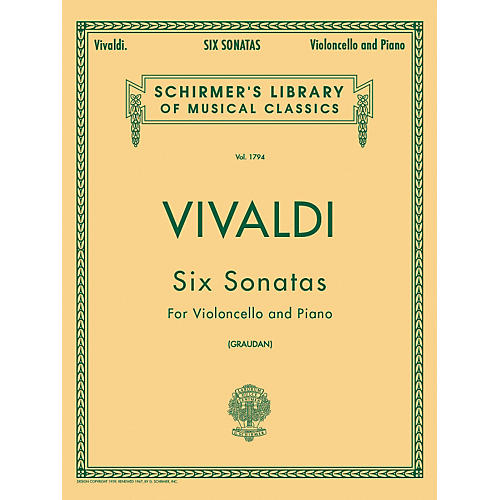 G. Schirmer Six Sonatas for Violoncello And Piano By Vivaldi thumbnail