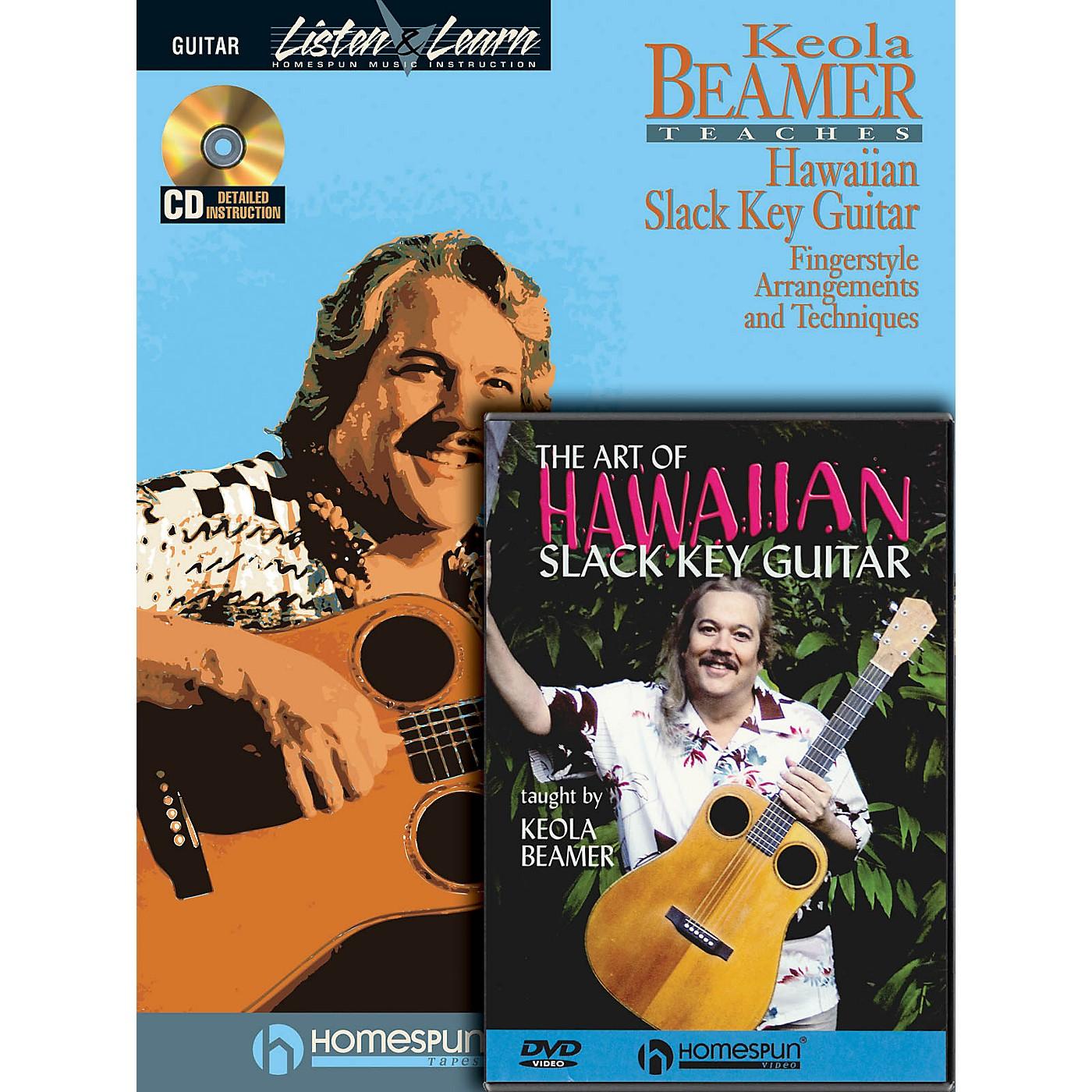 Homespun Slack Key Hawaiian Guitar Pack Homespun Tapes Series Softcover with DVD Written by Keola Beamer thumbnail