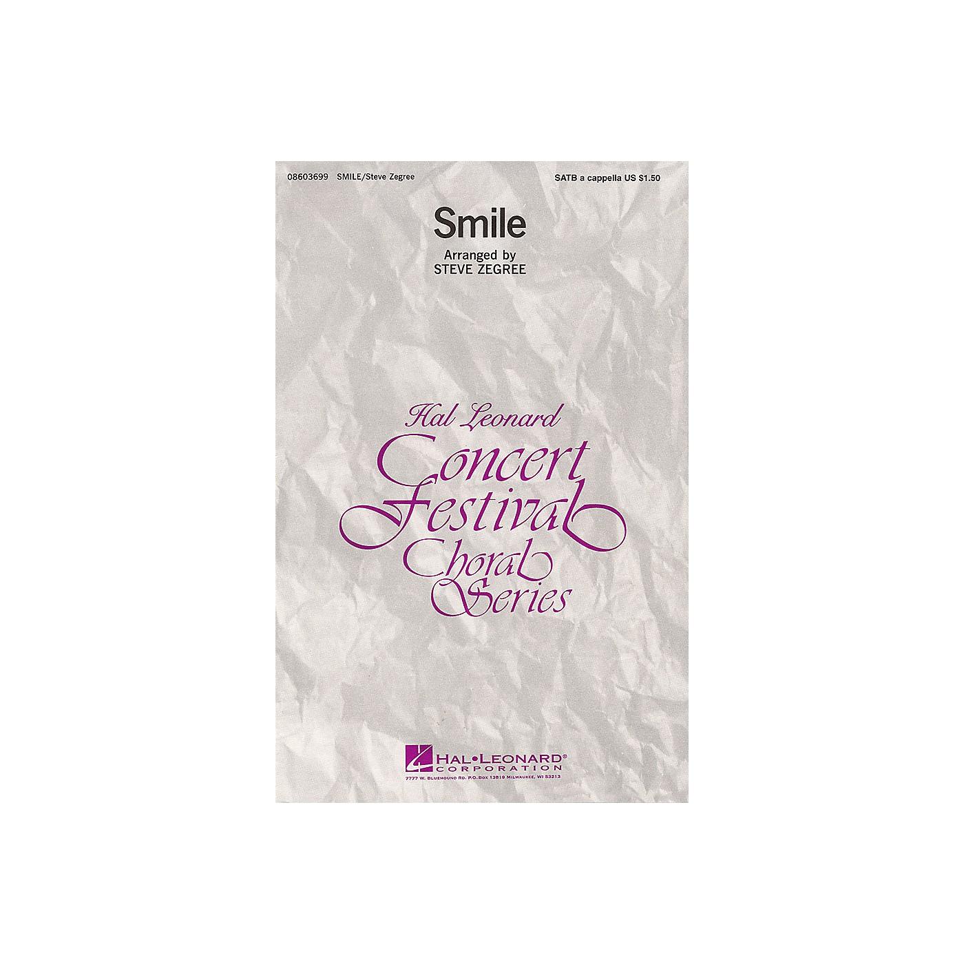 Hal Leonard Smile SATB a cappella arranged by Steve Zegree thumbnail