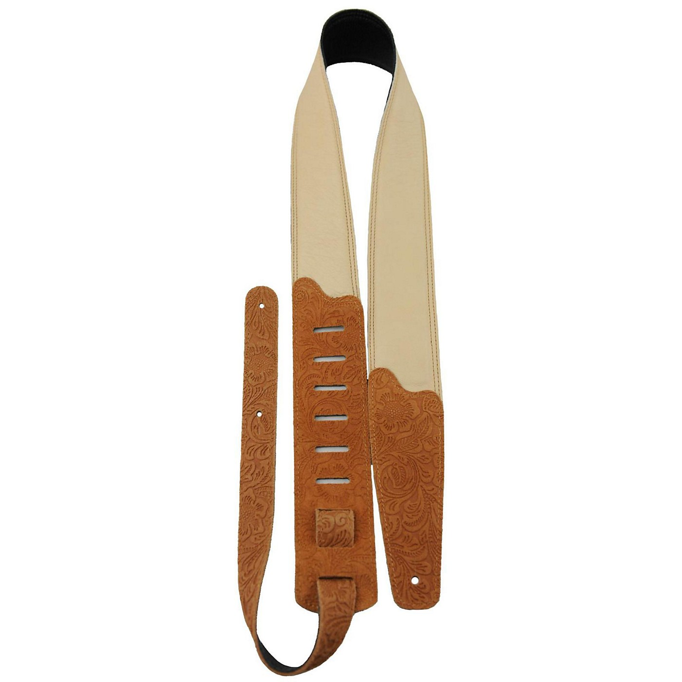 Perri's Soft Garment Leather Padded Embossed Floral Pattern Guitar Strap thumbnail