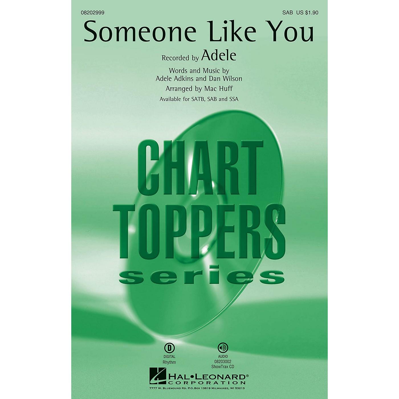 Hal Leonard Someone Like You SAB by Adele arranged by Mac Huff thumbnail