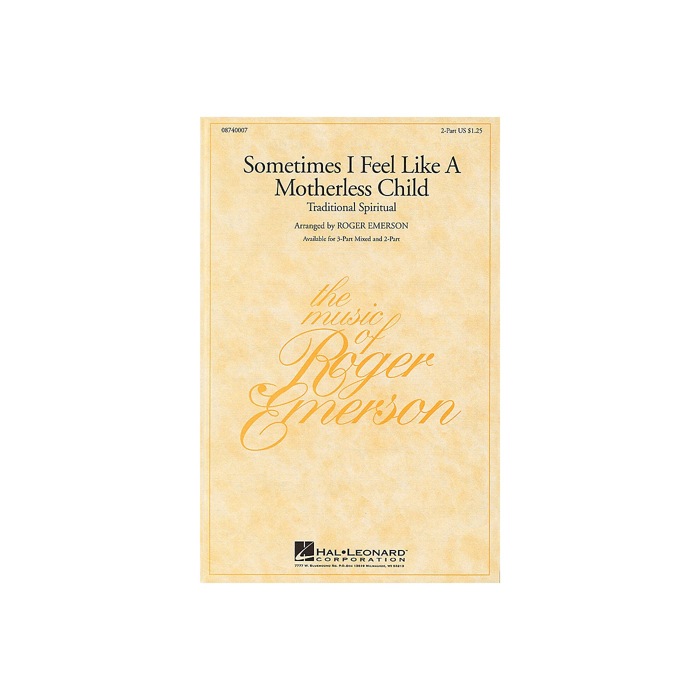 Hal Leonard Sometimes I Feel Like a Motherless Child 3-Part Mixed Arranged by Roger Emerson thumbnail