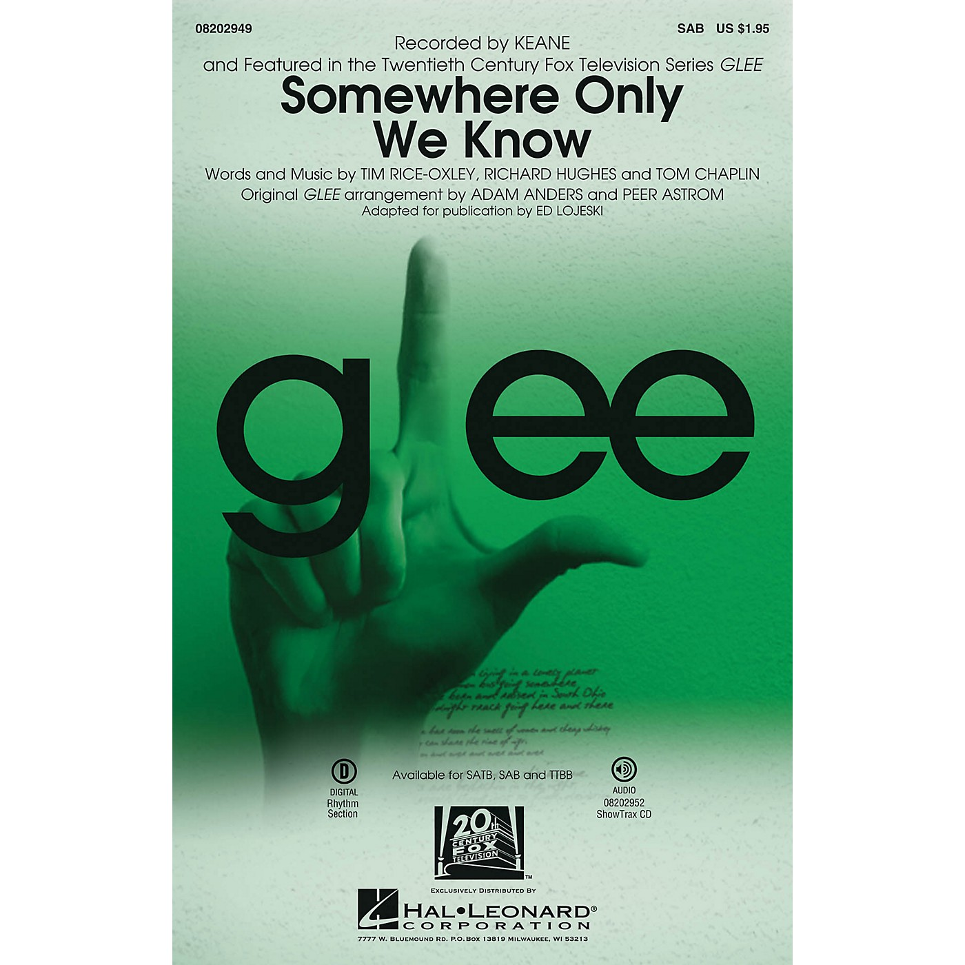Hal Leonard Somewhere Only We Know SAB by Keane arranged by Ed Lojeski thumbnail