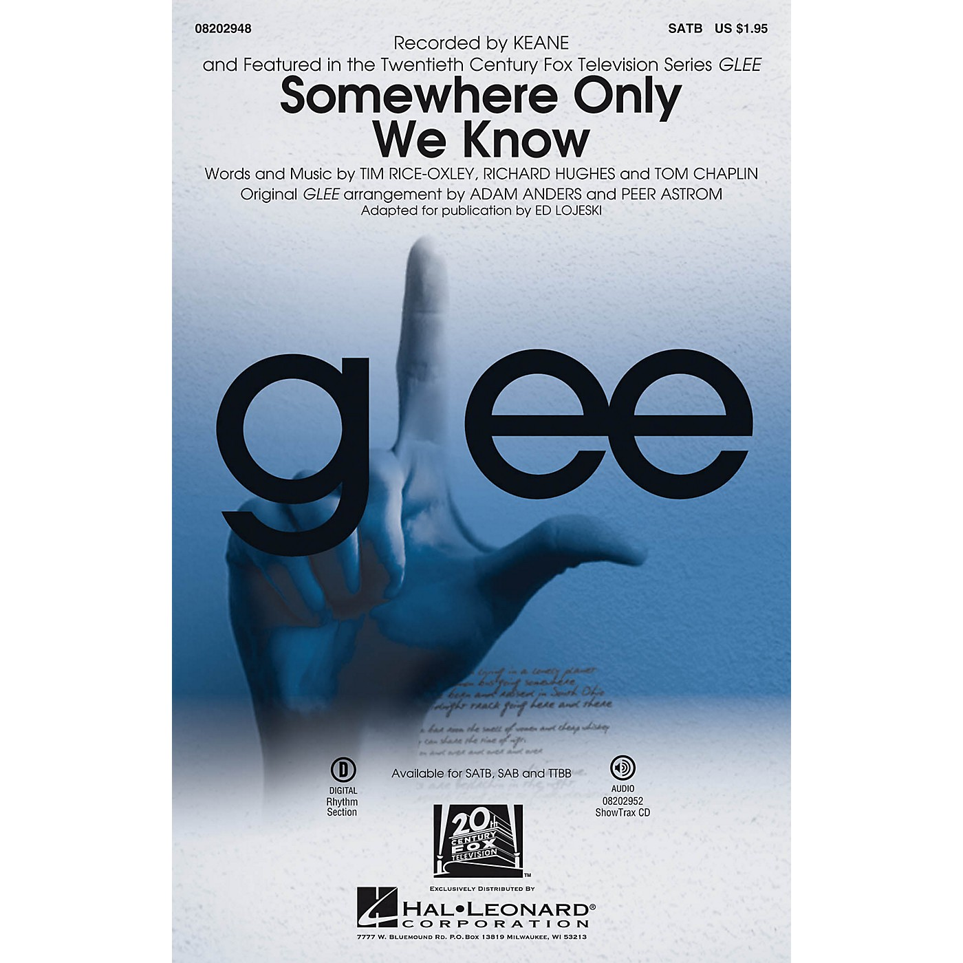 Hal Leonard Somewhere Only We Know SATB by Keane arranged by Ed Lojeski thumbnail