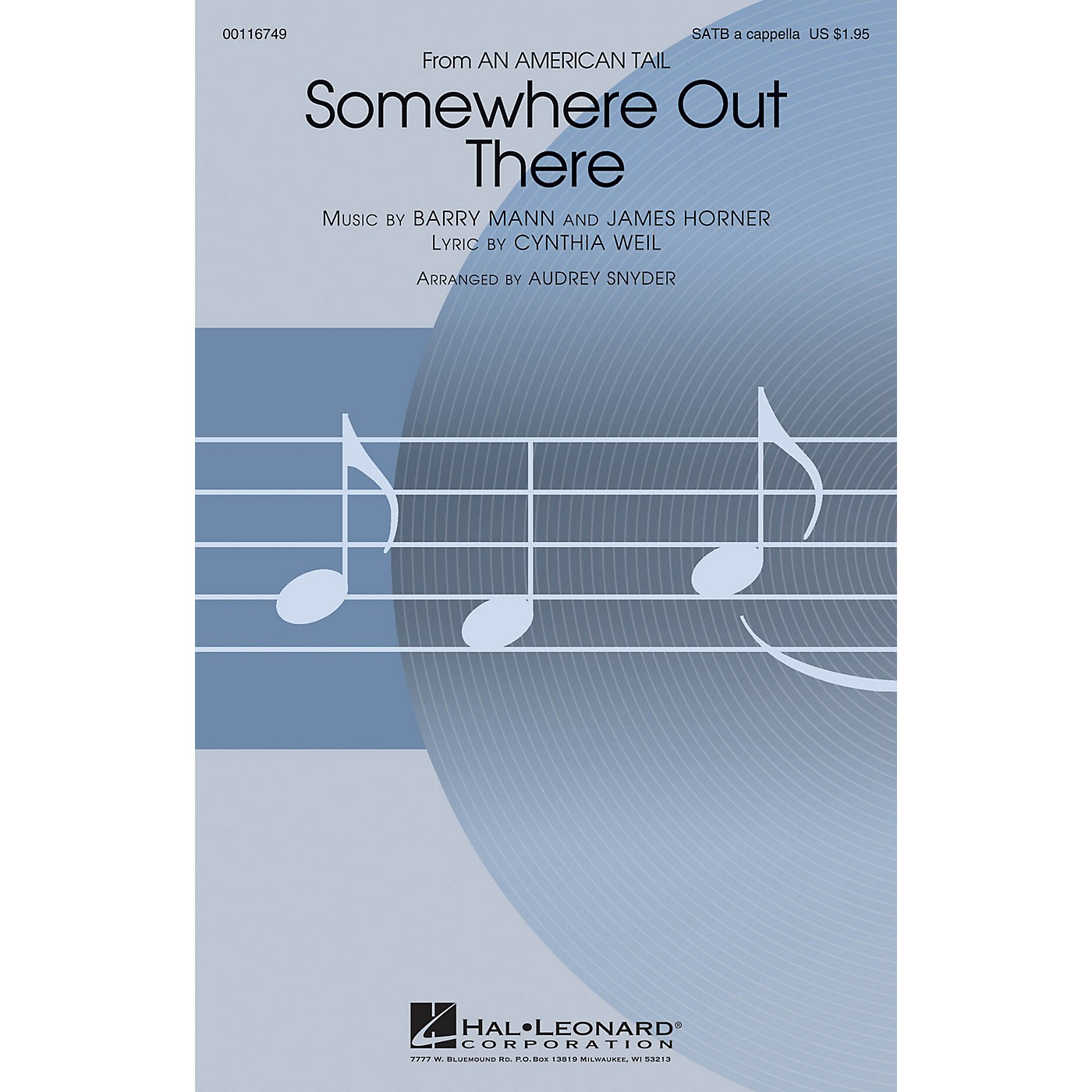 Hal Leonard Somewhere Out There (from An American Tale) SATB a cappella arranged by Audrey Snyder thumbnail