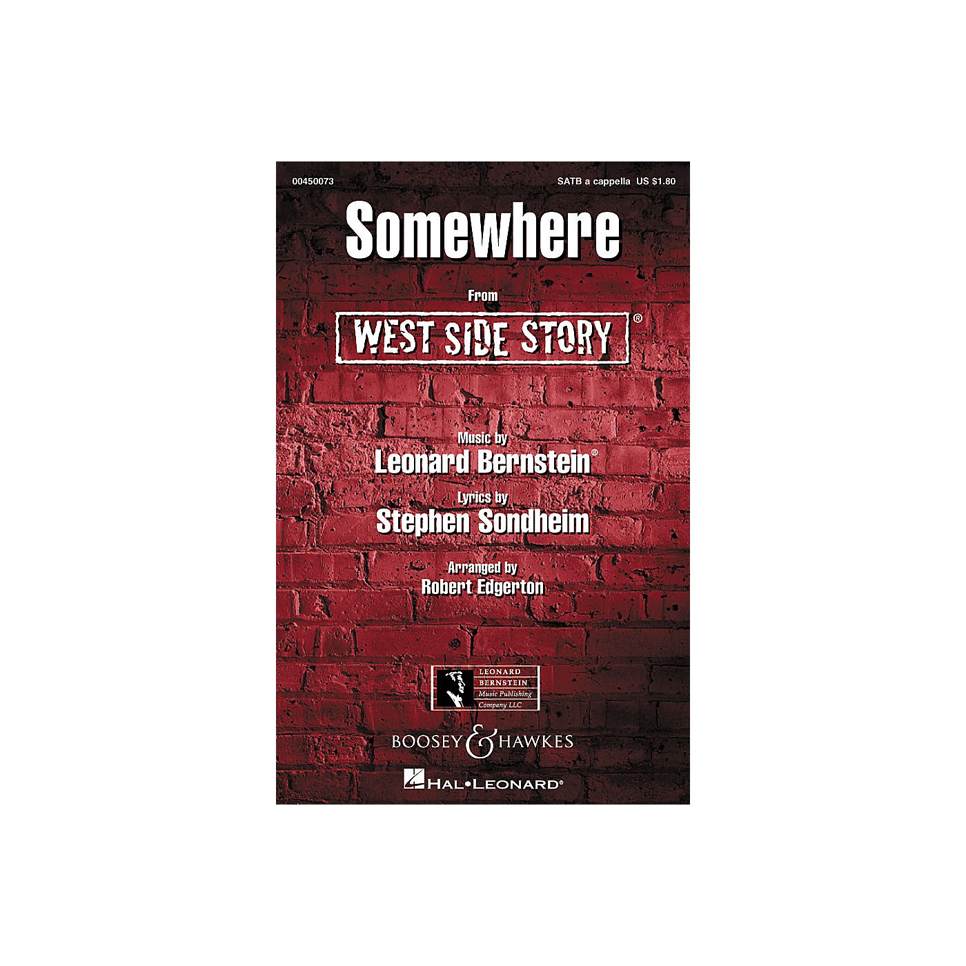 Hal Leonard Somewhere (from West Side Story) SATB a cappella Arranged by Robert Edgerton thumbnail