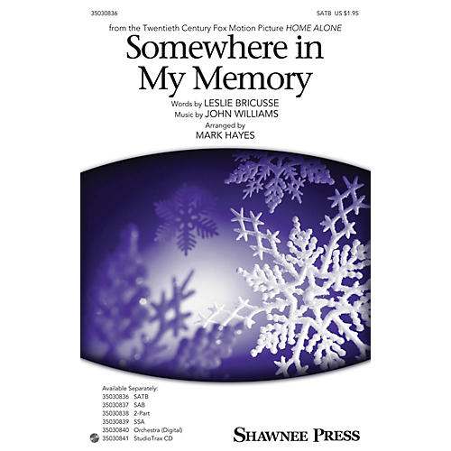 Shawnee Press Somewhere in My Memory Studiotrax CD Arranged by Mark Hayes thumbnail