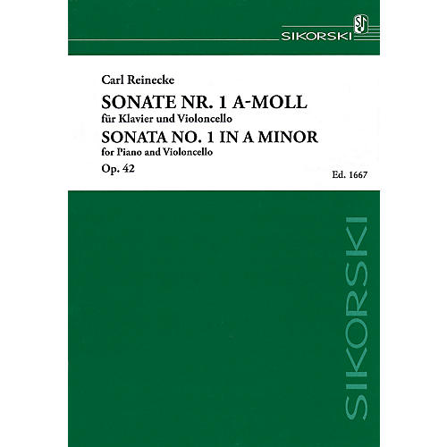 Sikorski Sonata No. 1 in A minor, Op. 42 (Piano and Violoncello) String Series Softcover Composed by Carl Reinecke thumbnail