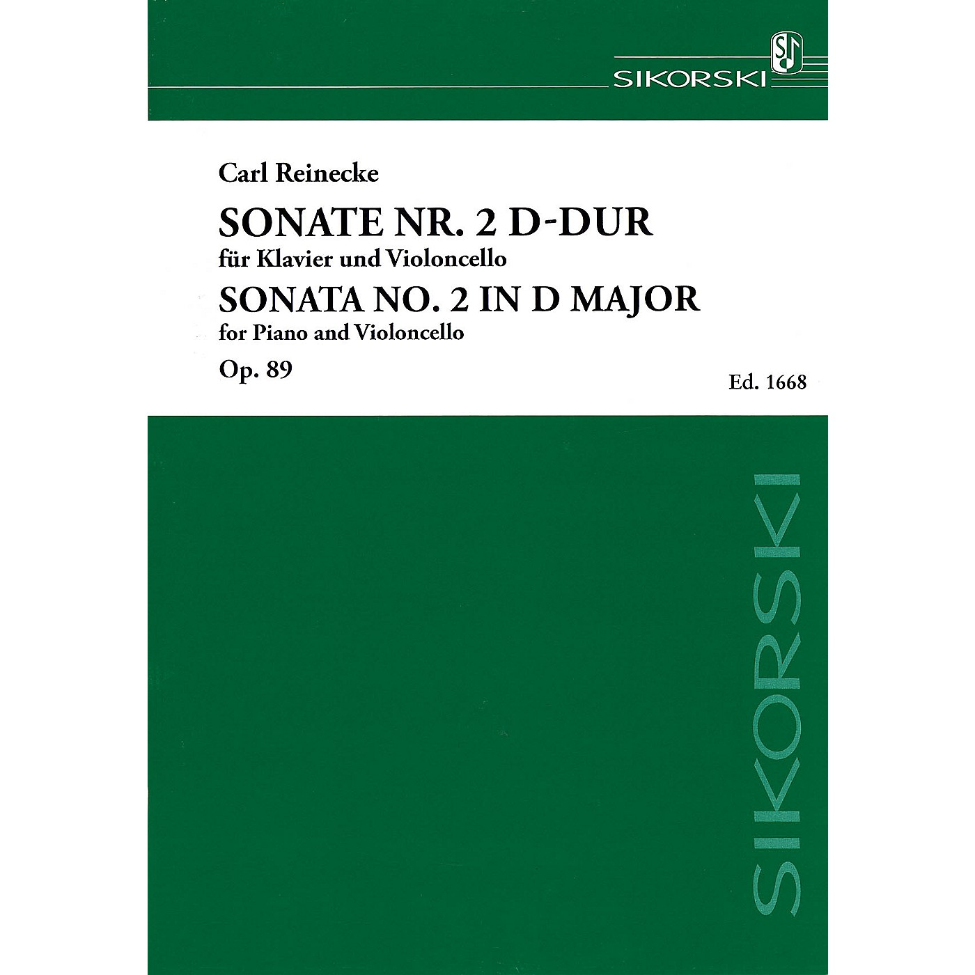 Sikorski Sonata No. 2 in D Major, Op. 89 (Piano and Violoncello) String Series Softcover Composed by Carl Reinecke thumbnail