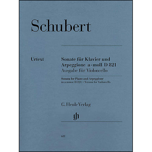 G. Henle Verlag Sonata for Piano and Arpeggione A minor D 821 (Op. Posth. (Version for Violoncello) By Schubert thumbnail