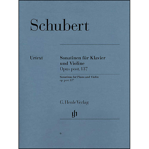 G. Henle Verlag Sonatinas for Piano And Violin Opus Post 137 By Schubert thumbnail