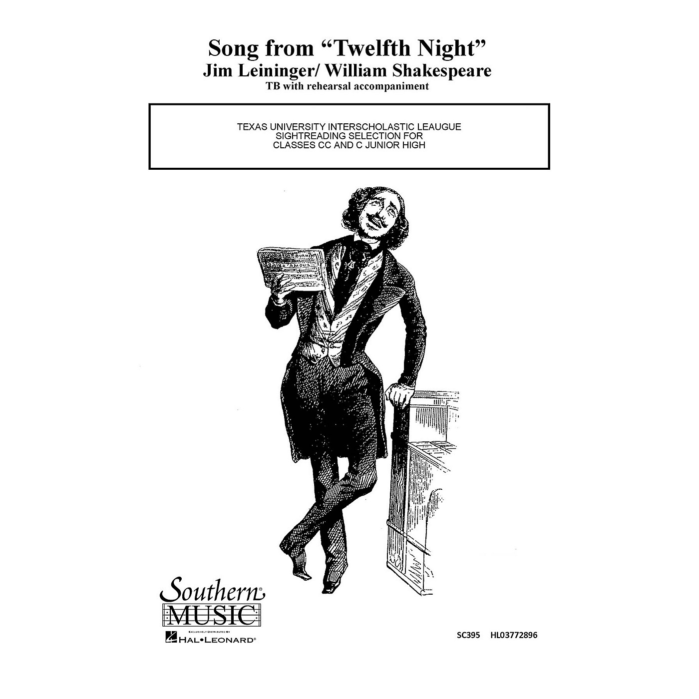 Hal Leonard Song From Twelfth ( 12th) Night (Choral Music/Octavo Secular 2-par) TB Composed by Leininger, Jim thumbnail