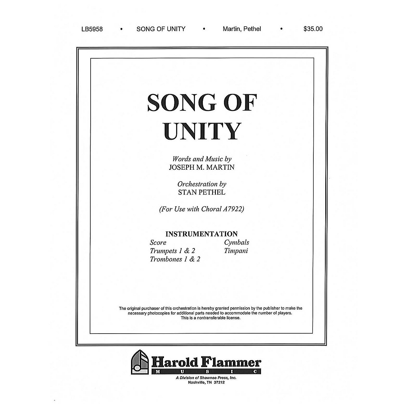 Shawnee Press Song of Unity Score & Parts composed by Joseph M. Martin thumbnail