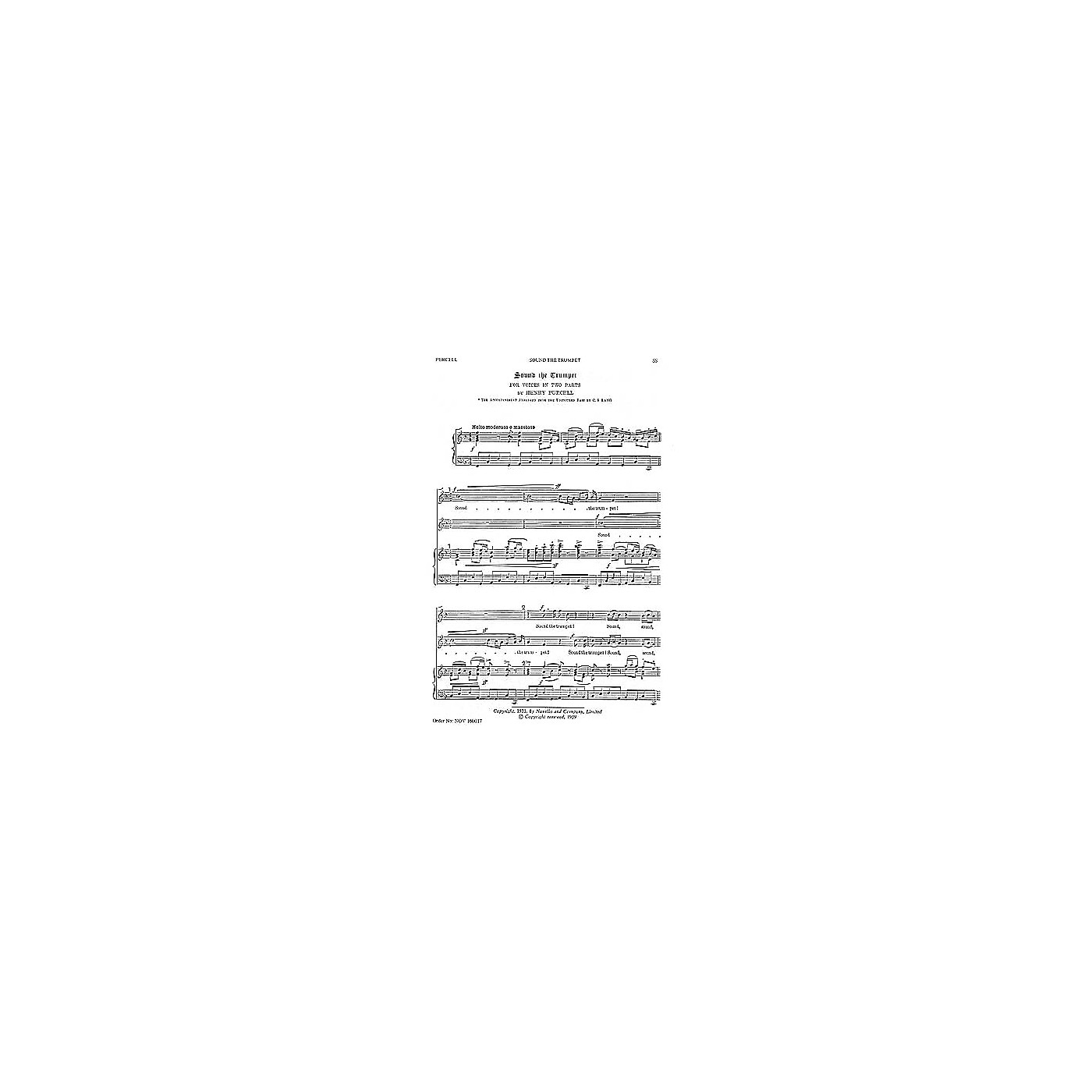 Novello Sound the Trumpet 2PT TREBLE Composed by Henry Purcell thumbnail