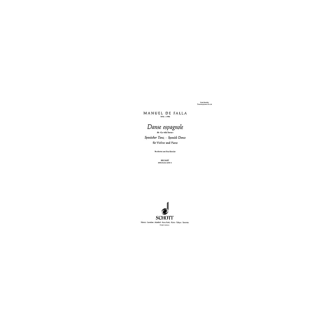 Schott Spanish Dance (Danse Espagnole) (from La vida breve) Schott Series thumbnail