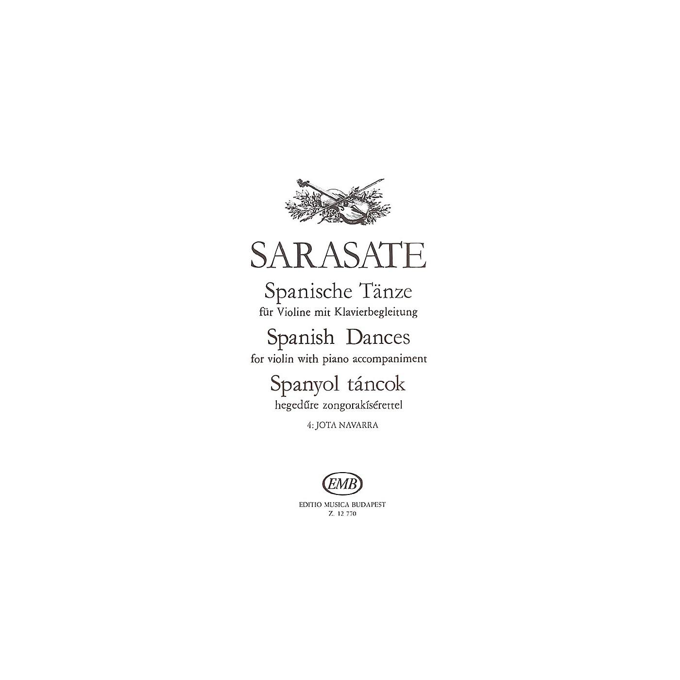 Editio Musica Budapest Spanish Dances - Volume 4 (Jota Navarra Op. 22 No. 2 Violin and Piano) EMB Series by Pablo de Sarasate thumbnail
