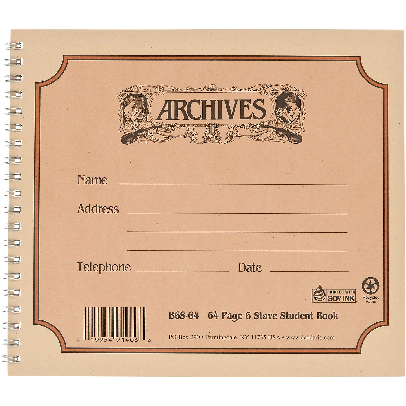 Archives Spiral Bound Manuscript Paper 6 Staves thumbnail