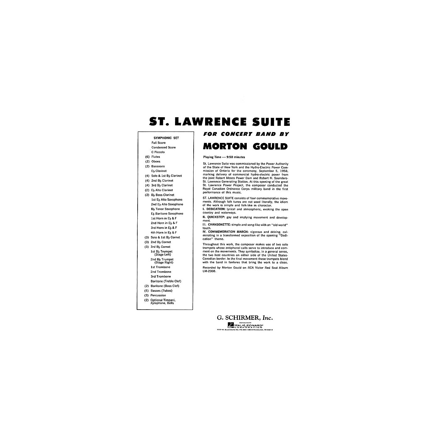 G. Schirmer St. Lawrence Suite (Full Score) Concert Band Composed by Morton Gould thumbnail