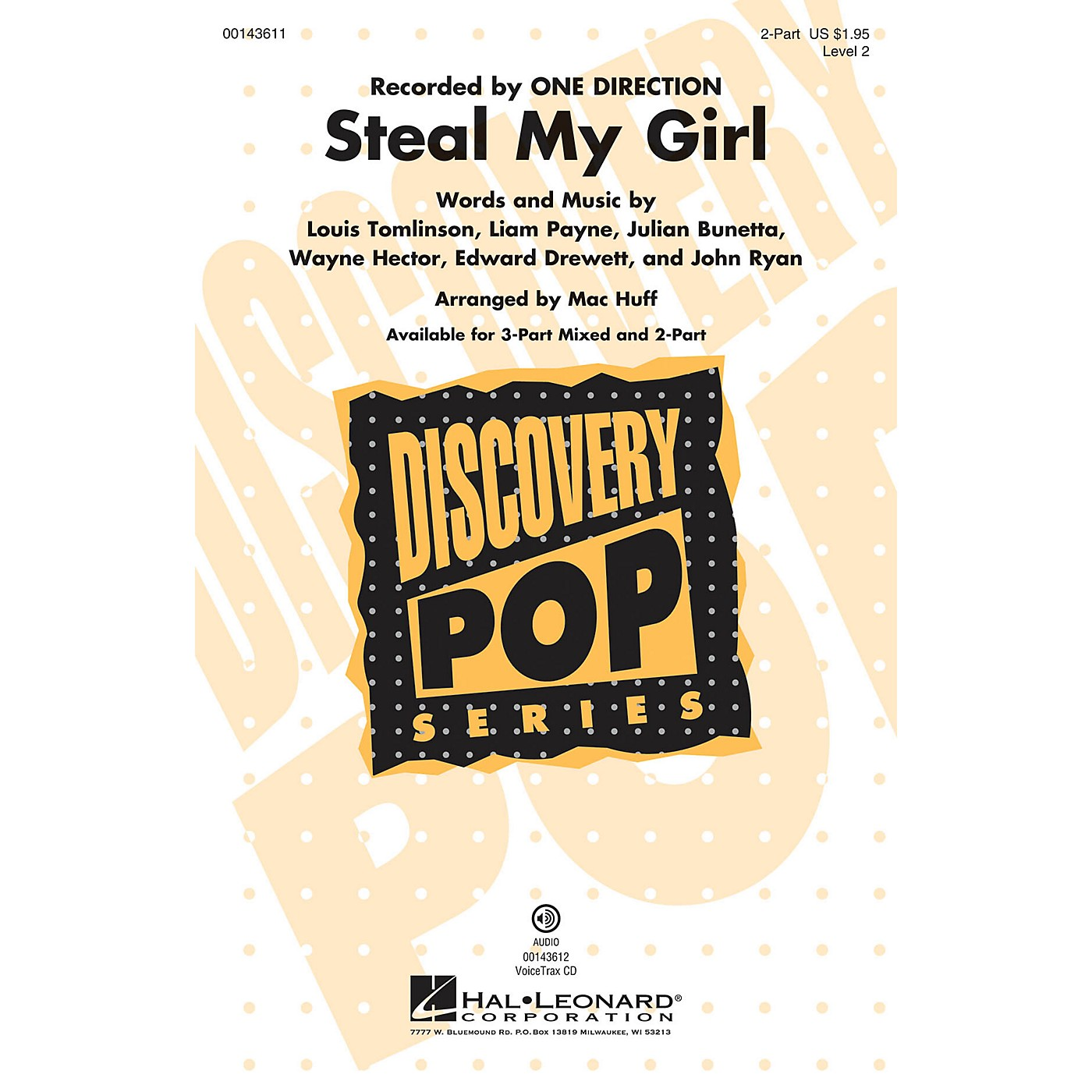 Hal Leonard Steal My Girl (Discovery Level 2) 2-Part by One Direction arranged by Mac Huff thumbnail