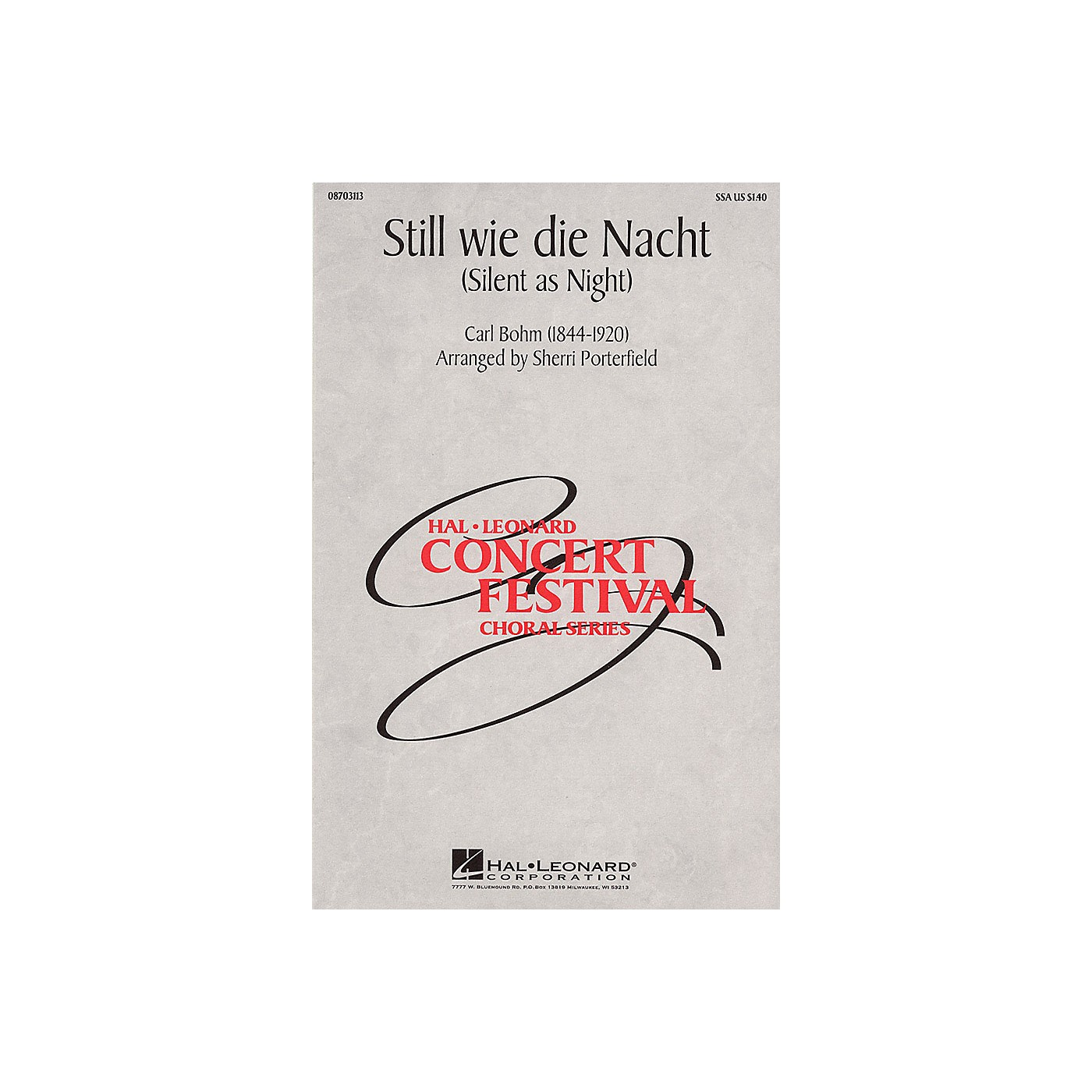 Hal Leonard Still wie die Nacht (Silent As Night) SSA arranged by Sherri Porterfield thumbnail