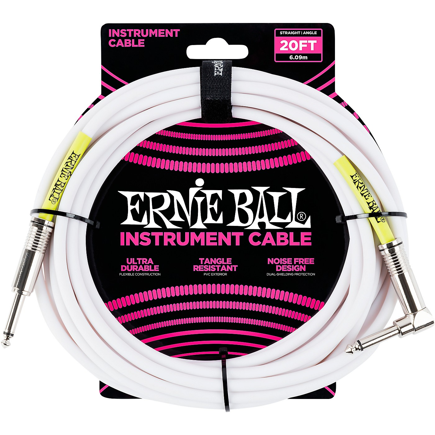 Ernie Ball Straight-Angle Instrument Cable - White thumbnail