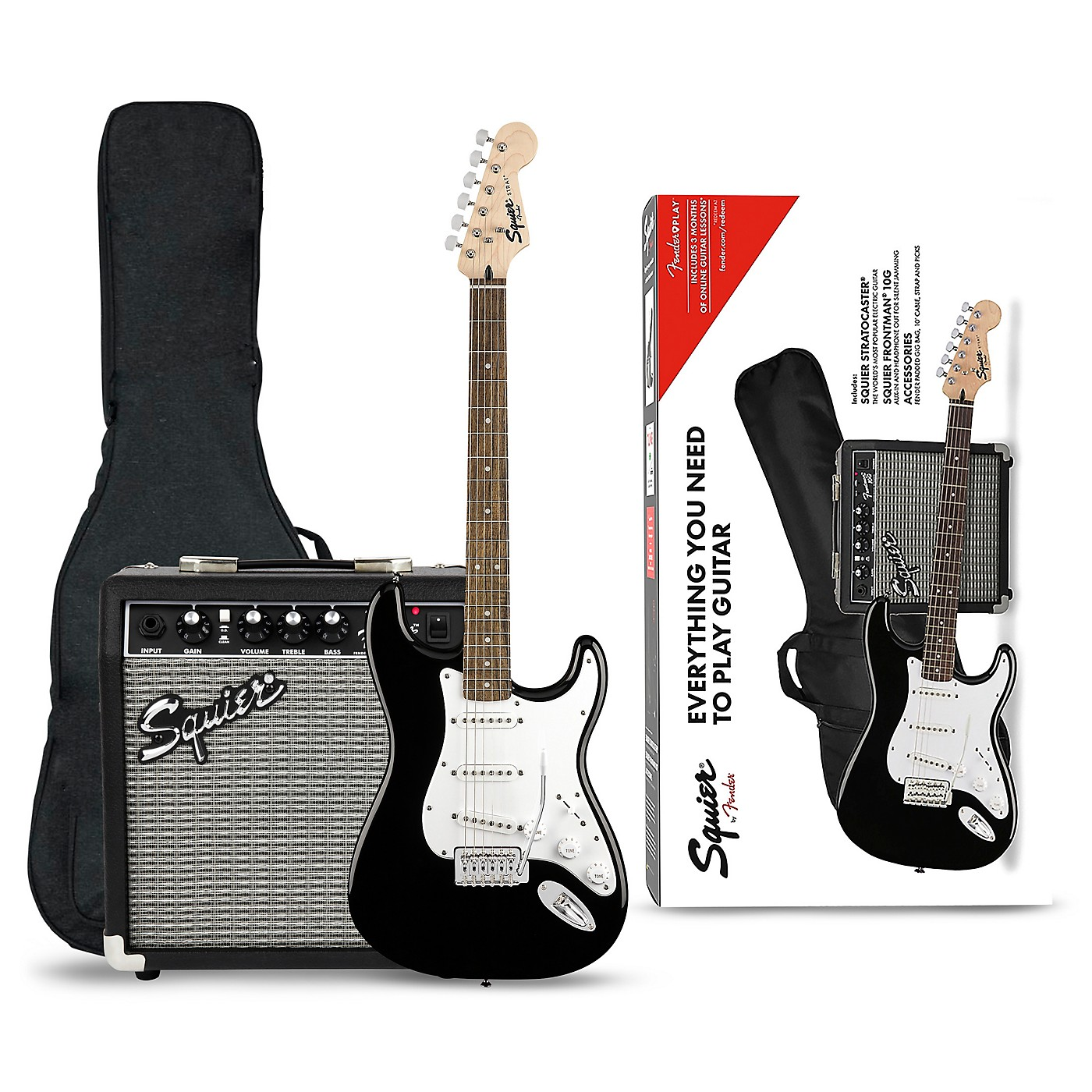 Squier Stratocaster Electric Guitar Pack with Fender Frontman 10G Amp thumbnail
