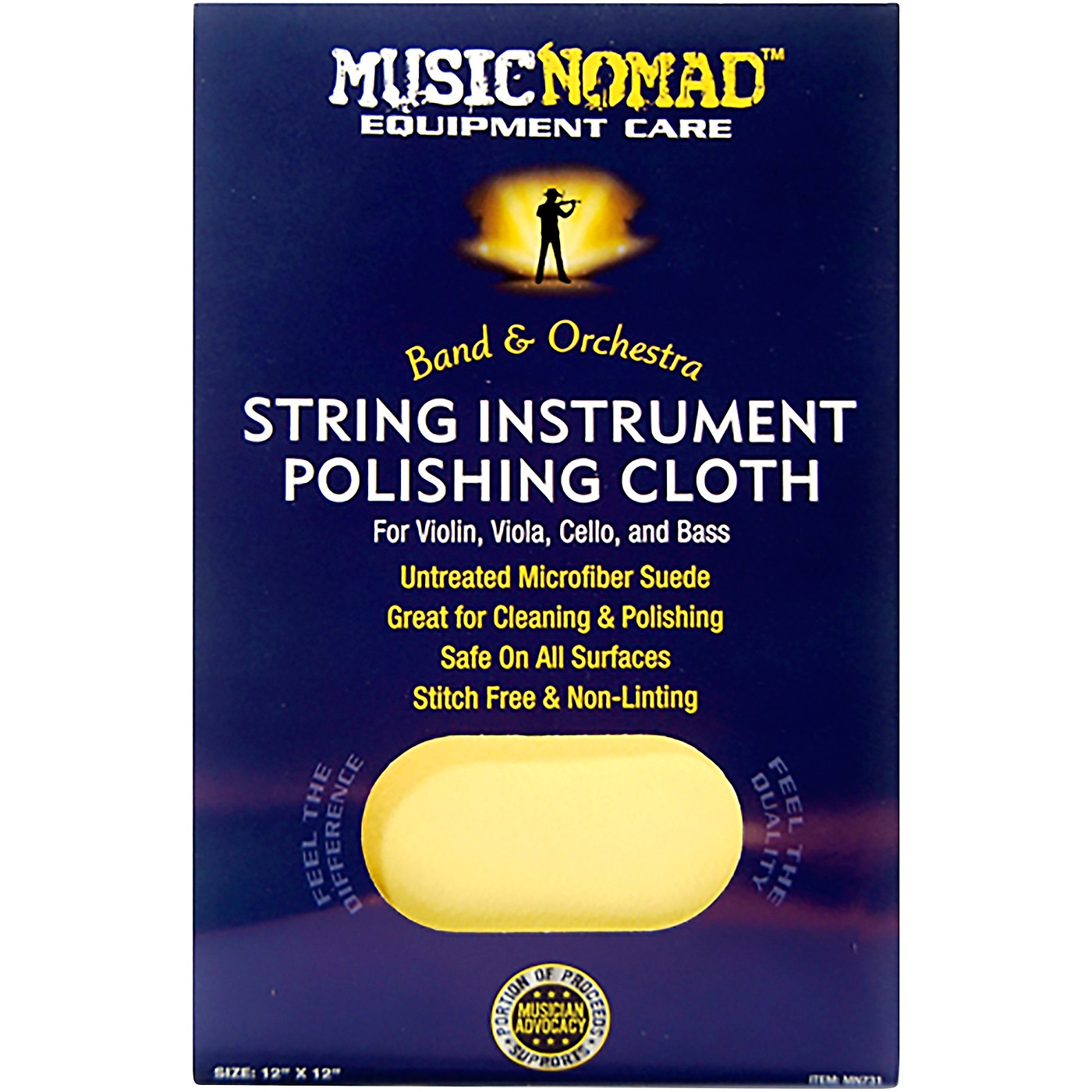 Music Nomad String Instrument Microfiber Polishing Cloth for Violin, Viola, Cello & Bass thumbnail
