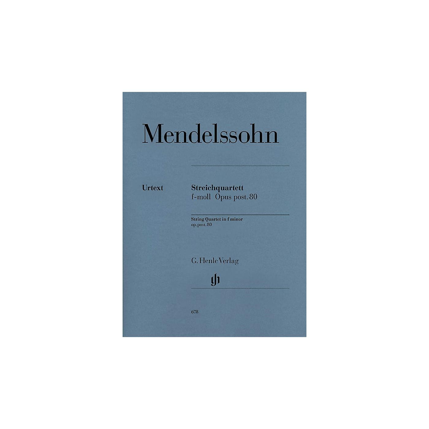 G. Henle Verlag String Quartet F Minor Op. Posth. 80 Henle Music Folios Series Softcover Composed by Felix Mendelssohn thumbnail