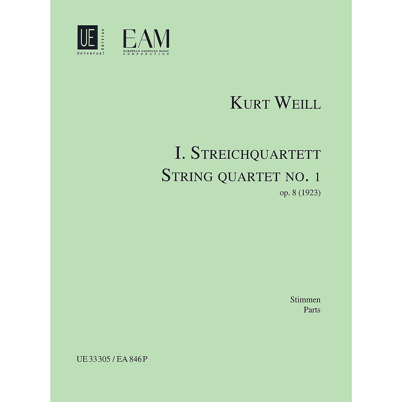 Universal Edition String Quartet No. 1, Op. 8 (Parts) String Series Composed by Kurt Weill thumbnail