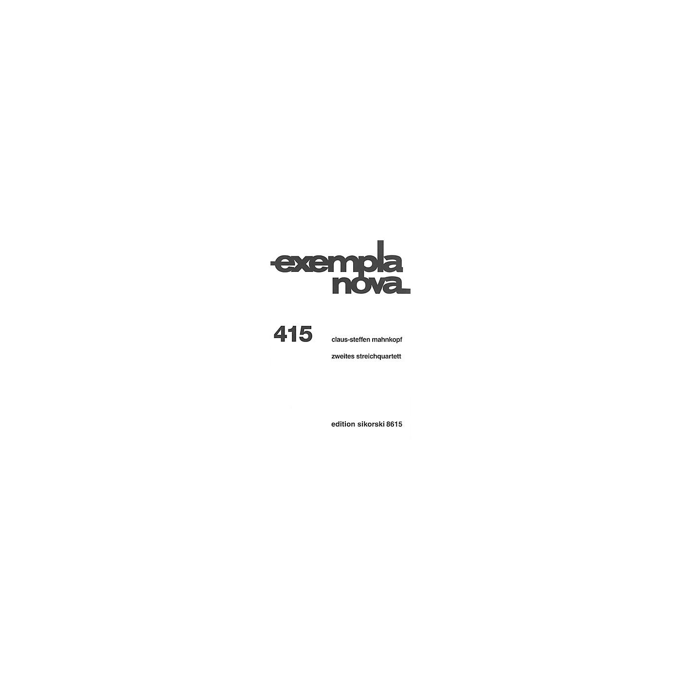 Sikorski String Quartet No. 2 (Zweites streichquartett) String Ensemble Series Softcover by Claus-Steffen Mahnkopf thumbnail