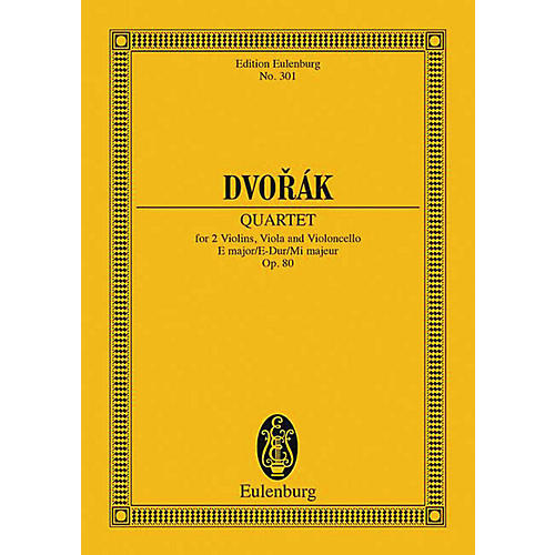 Eulenburg String Quartet in E Major, Op. 80 Schott Series Composed by Antonín Dvorák thumbnail