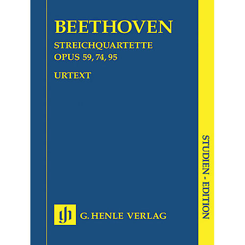 G. Henle Verlag String Quartets Op. 59, 74, 95 (Study Score) Henle Study Scores Series Softcover by Ludwig van Beethoven thumbnail