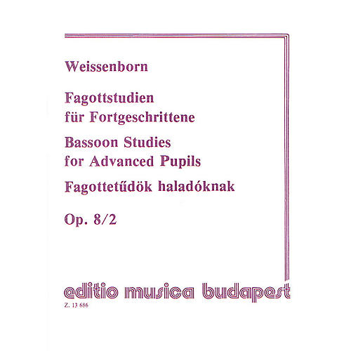 Editio Musica Budapest Studies for Bassoon, Op. 8 - Volume 2 EMB Series by Julius Weissenborn thumbnail