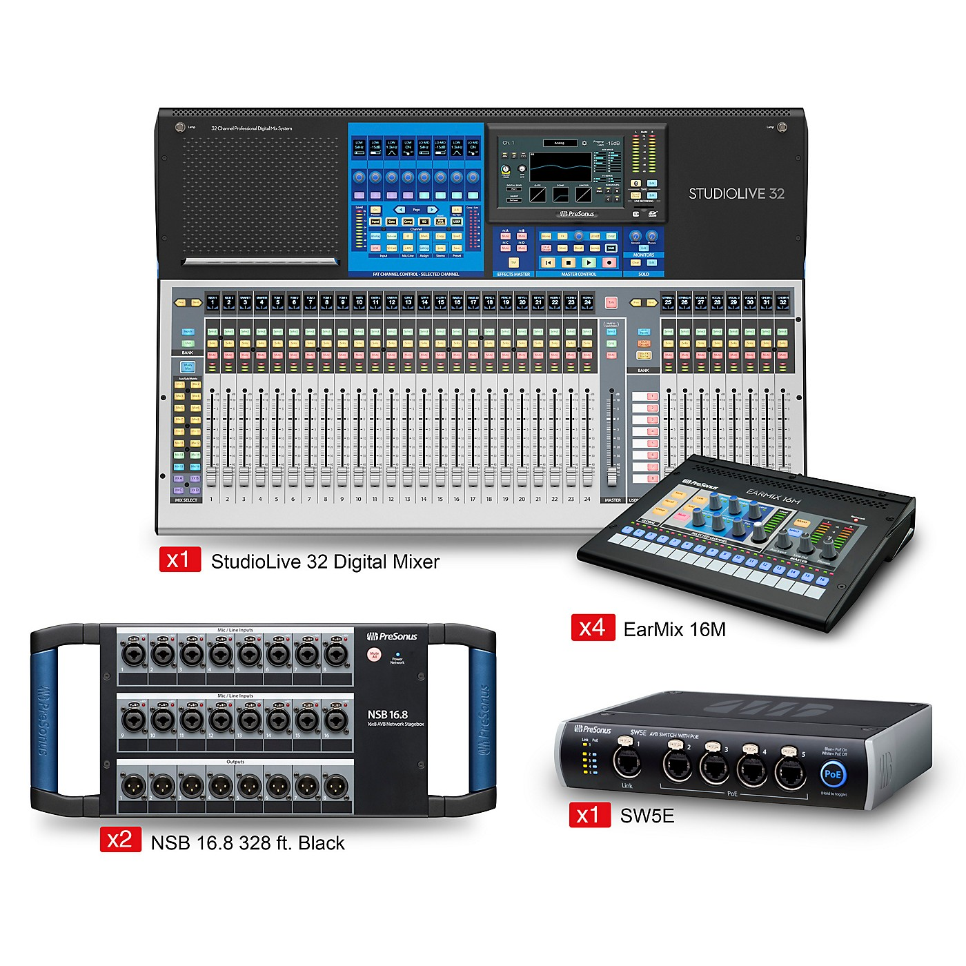 Presonus StudioLive 32 Tour and Stage EarMix Monitor and Switcher Package thumbnail